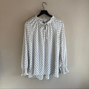 White Blouse with Black Polka Dots Size Medium